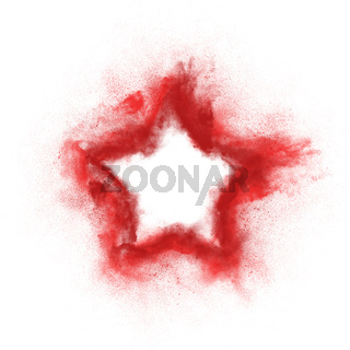 Abstract design of white powder particles red star shape explosion over white background