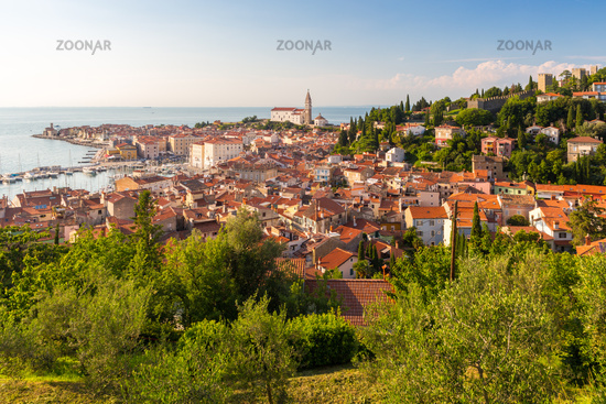 Panoramic view of old town Piran, Slovenia, Europe. Summer vacations tourism concept background.