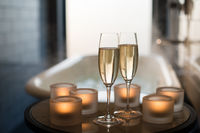 Champagne and candles for Romantic Concept