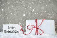 One Christmas Gift, Snow, Snowflakes, Cement, Frohe Weihnachten Means Merry Christmas