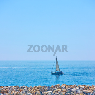 Yacht in the sea near coast