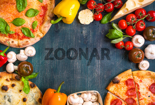 Pizza and ingredients background