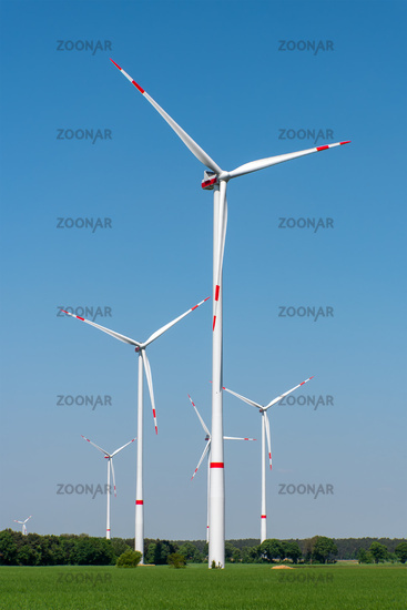 Wind turbines in a rural area seen in Germany