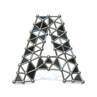 Wire low poly black metal Font Letter A 3D