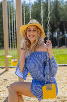 Pregnant Blonde Model At A Local Park