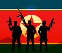North Korea Soldiers And Flag 3d Illustration