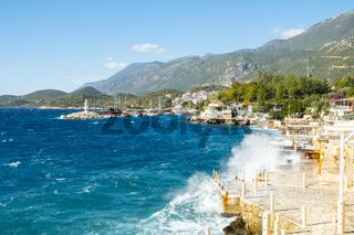Waves Crashing Waterfront Restaurants Kas Turkey H