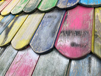 wooden roof tiles closeup of colorful playground house roof