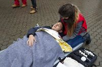 Bulgarian Red Cross Youth Paramedics volunteers stretcher