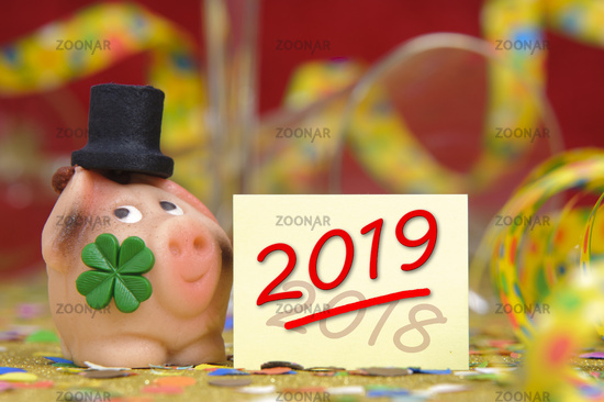 lucky charm with new year`s date 2019