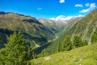 View from the hiking trail down into the valley of Niederthai, Ötztal, Osttirol