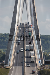 Traffic at Pont de Normandie near Le Havre in France
