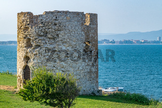 Ancient Byzantine Tower in Nessebar ancient city, one of the major seaside resorts on the Bulgarian Black Sea Coast. Nesebar, Nesebr is a UNESCO World Heritage Site. An Ancient Tower in Nessebar