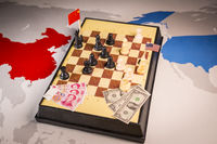 USA and China playing chess. Trade war concept