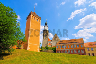 Kamenz Roter Turm und Kirche in Sachsen, Deutschland - Kamenz red tower and church, Saxony in Germany