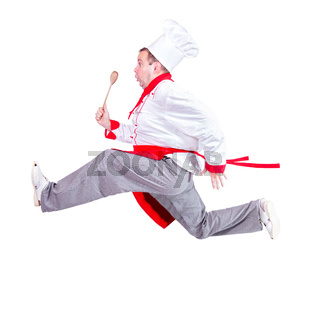 fat chef running with a wooden spoon