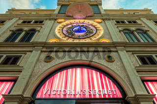 October 31, 2019: MACAU, CHINA - Victoria Secret Store under European Clock at the Venetian Hotel and Casino, Largest Supercomplex in the World