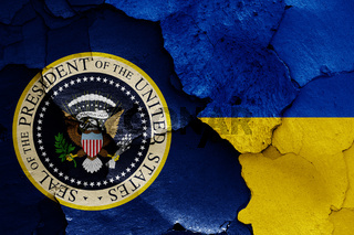 flags of President of the United States and Ukraine painted on cracked wall