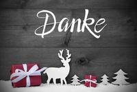 Reindeer, Gift, Tree, Snow, Danke Means Thank You