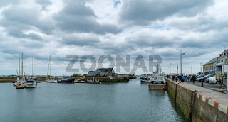 panorama view of the harbor and port of Saint-Vaast-la-Hougue in Normandy