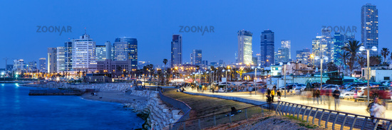 Tel Aviv skyline panorama Israel blue hour night city skyscrapers
