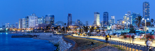 Tel Aviv skyline panorama Israel blue hour night city skyscrapers
