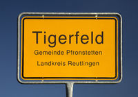 Town place sign for Tigerfeld, a part of the today's municipality Pfronstetten, Germany, Europe