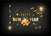 Happy New Year Greeting Card with Golden Decoration