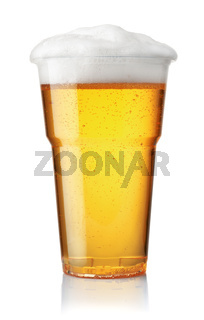 Front view of draught beer in plastic disposable cup