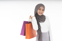 Muslim girl shopping bags