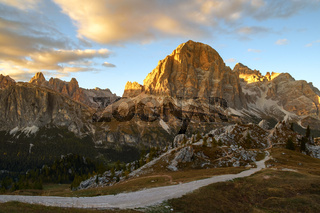 Autumn scene in Dolomites mountain