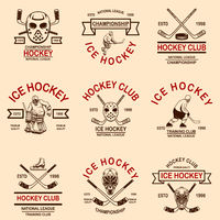 Set of hockey club emblems. Design element for logo