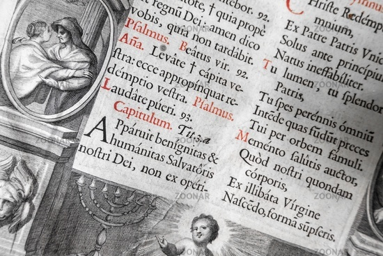 Extremely Old Latin Text Black White Vintage BIble Background Red Highlights