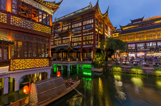 Shanghai, China - May 22, 2018: Old street near Yuyuan garden (Garden of Happiness) in center of Shanghai