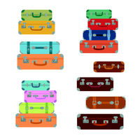 Icons luggage. Flat style. Suitcases baggage