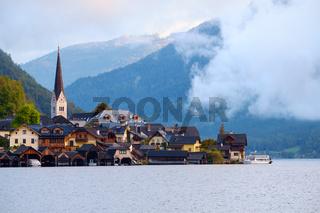 Hallstatt with Hallstatter See in the Austrian Alps