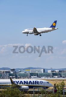 Flugzeuge von Lufthansa und Ryanair