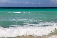 Background of waves in turquoise sea