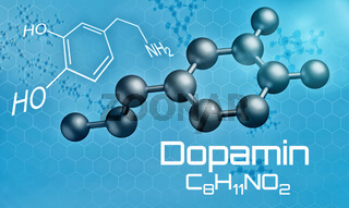 Three-dimensional molecular model of Dopamine - 3d render -  Dopamin (German)