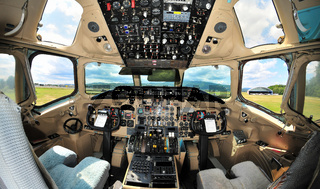 Vintage passenger jet aircraft cockpit interior