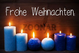 Romantic Turquoise Candle Light , Frohe Weihnachten Means Merry Christmas