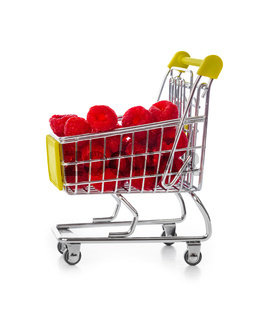 Raspberry in shopping cart