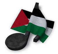 music note and flag of palestine - 3d rendering