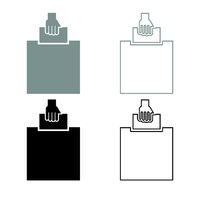 Hand puts a blank in a box for suggestion the voter throws a ticket icon outline set grey black color