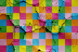 depiction of Lennon wall flag painted on cracked wall