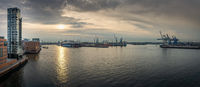 Panorama from Hamburg harbour at sunrise