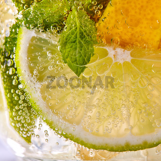 Macro photo of fresh slices of green lime, yellow lemon and mint leaf with bubbles in a glass. Summer refreshing cocktail