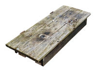 Wooden table decktop made  from old aged door isolated