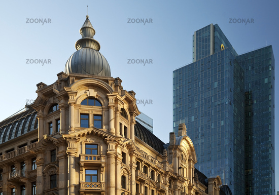 Architectural contrast in the Westend, Frankfurt am Main, Hesse, Germany, Europe