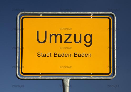 City limits sign, Umzug or moving, Baden-Baden, Baden-Württemberg, Germany, Europe